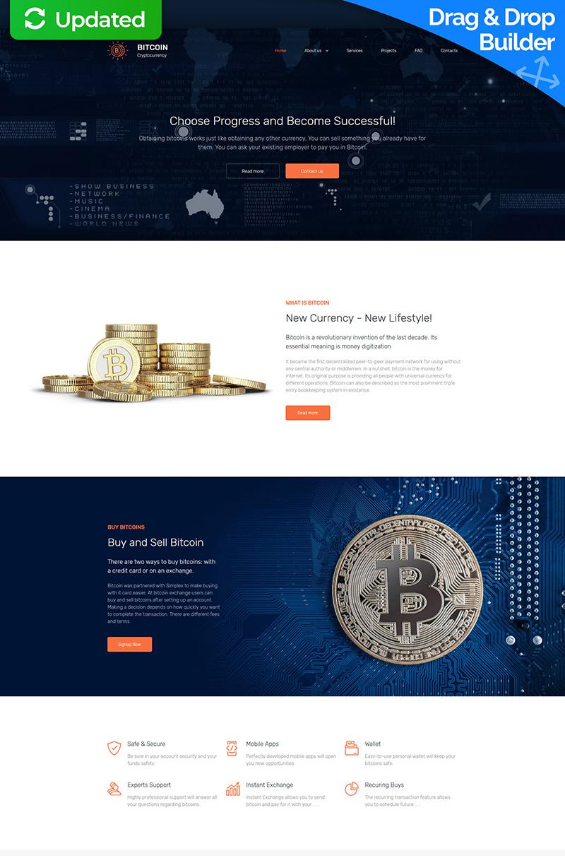 """Plantilla Moto CMS 3 """"Bitcoin Company Premium"""" #65295"""
