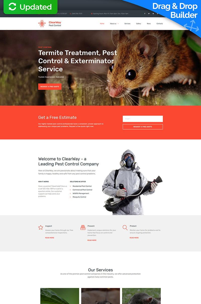 "Plantilla Moto CMS 3 ""ClearWay - Pest Control Premium"" #65294"
