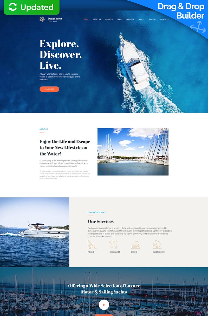 "Plantilla Moto CMS 3 ""OceanYacht - Yacht Club Premium"" #65290"