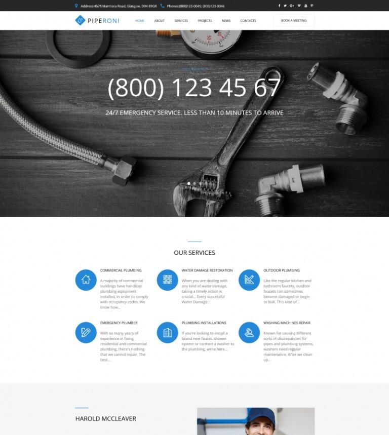 Plantilla Moto CMS HTML #65268 para Sitio de Servicios de Fontanería