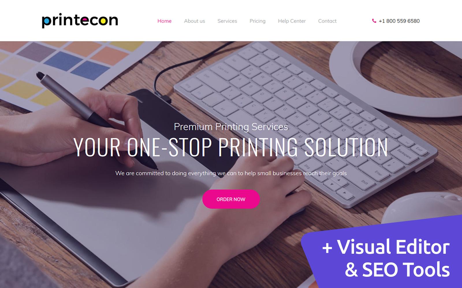 """Printecon - Digital Printing Company Premium"" Responsive Moto CMS 3 Template №65283"
