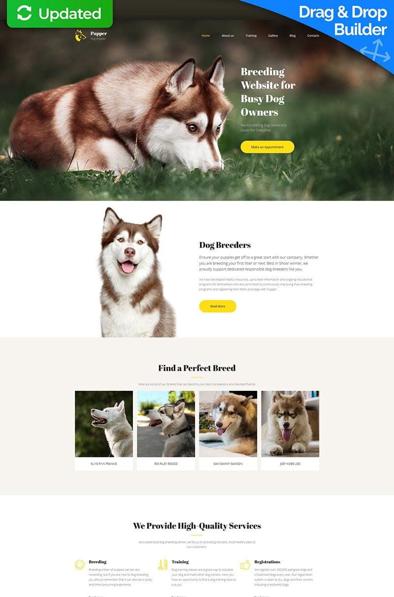 """Pupper - Dogs Breeder Premium"" Responsive Moto CMS 3 Template №65296"