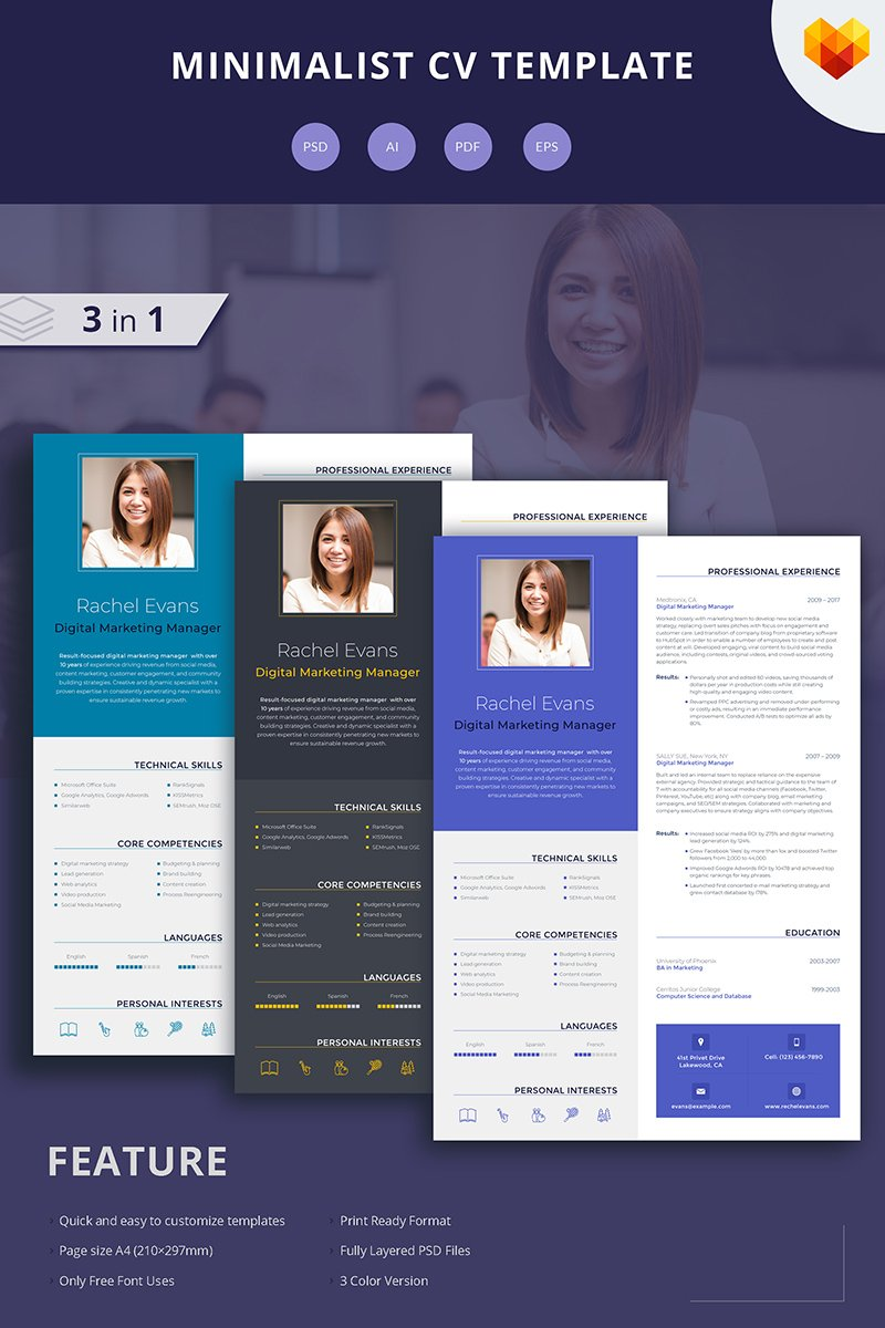 rachel evans digital marketing manager resume template 65253