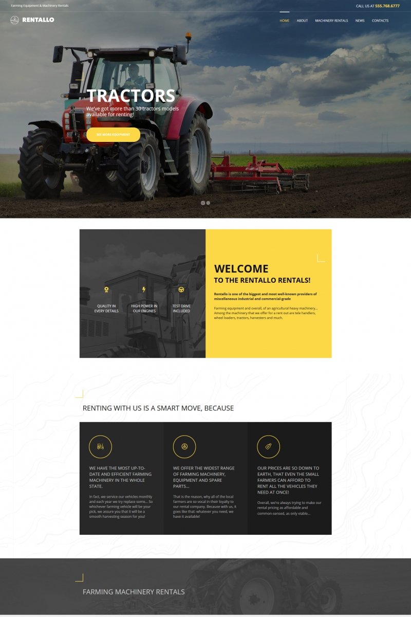 Rentallo - Farming Equipment & Machinery Rentals Moto CMS HTML Template