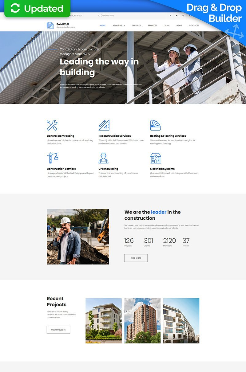 Responsivt BuildWell - Construction Company Premium Moto CMS 3-mall #65297