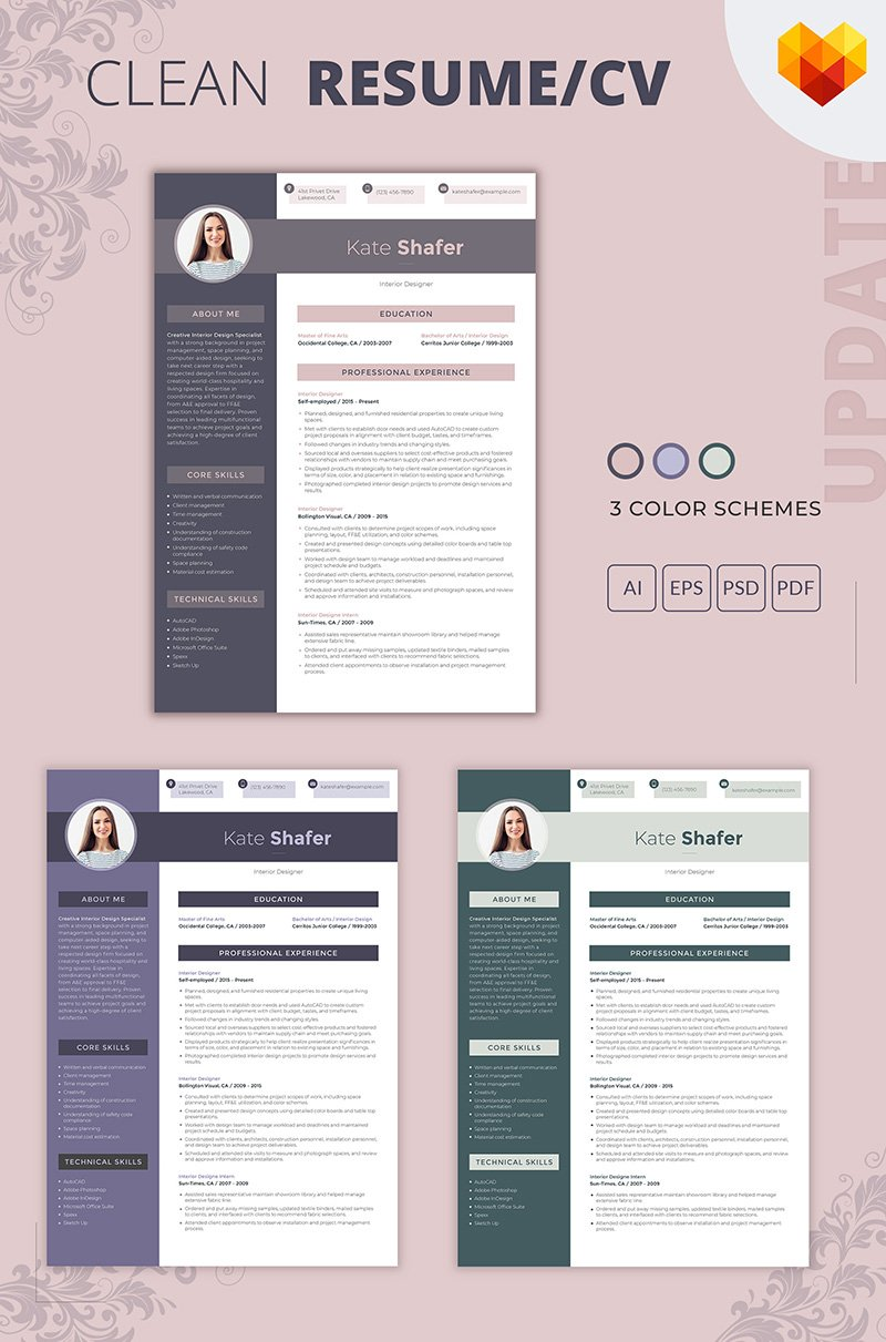 Szablon resume Kate Shafer - Interior Designer #65249