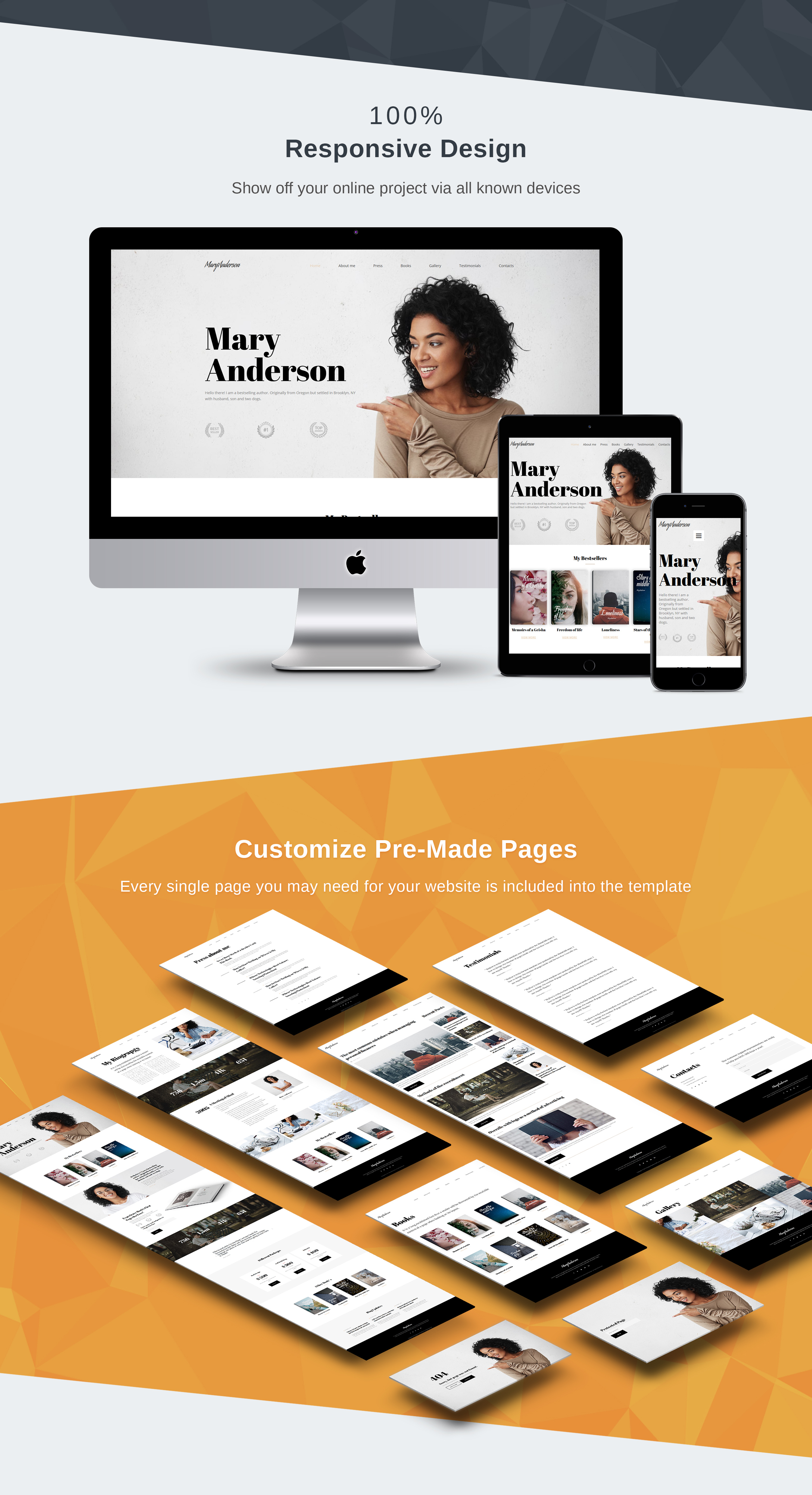 Mary Anderson - Book Writer Premium Moto CMS 3 Template