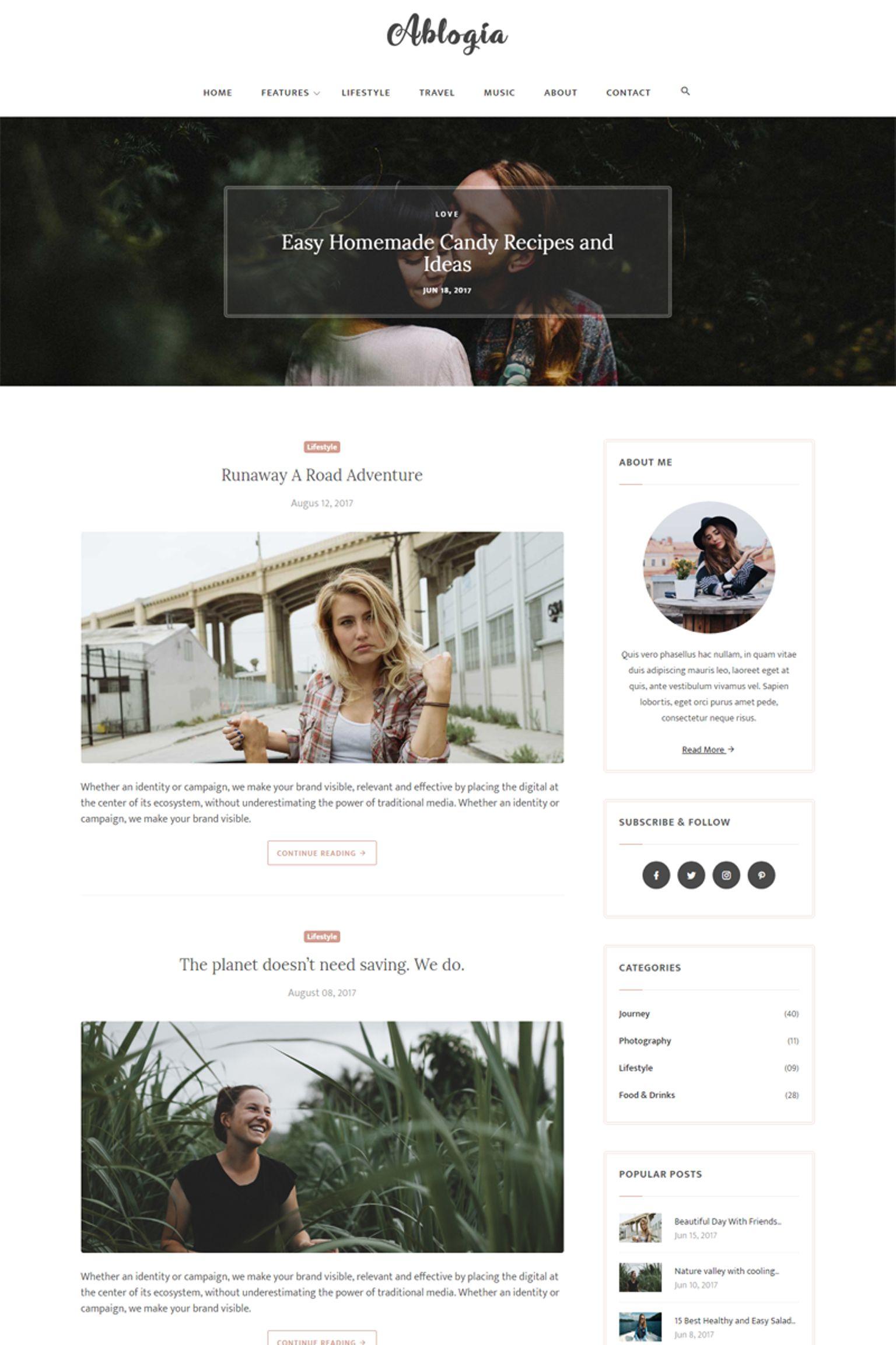 Abloga - HTML5 Blog Website Template - screenshot