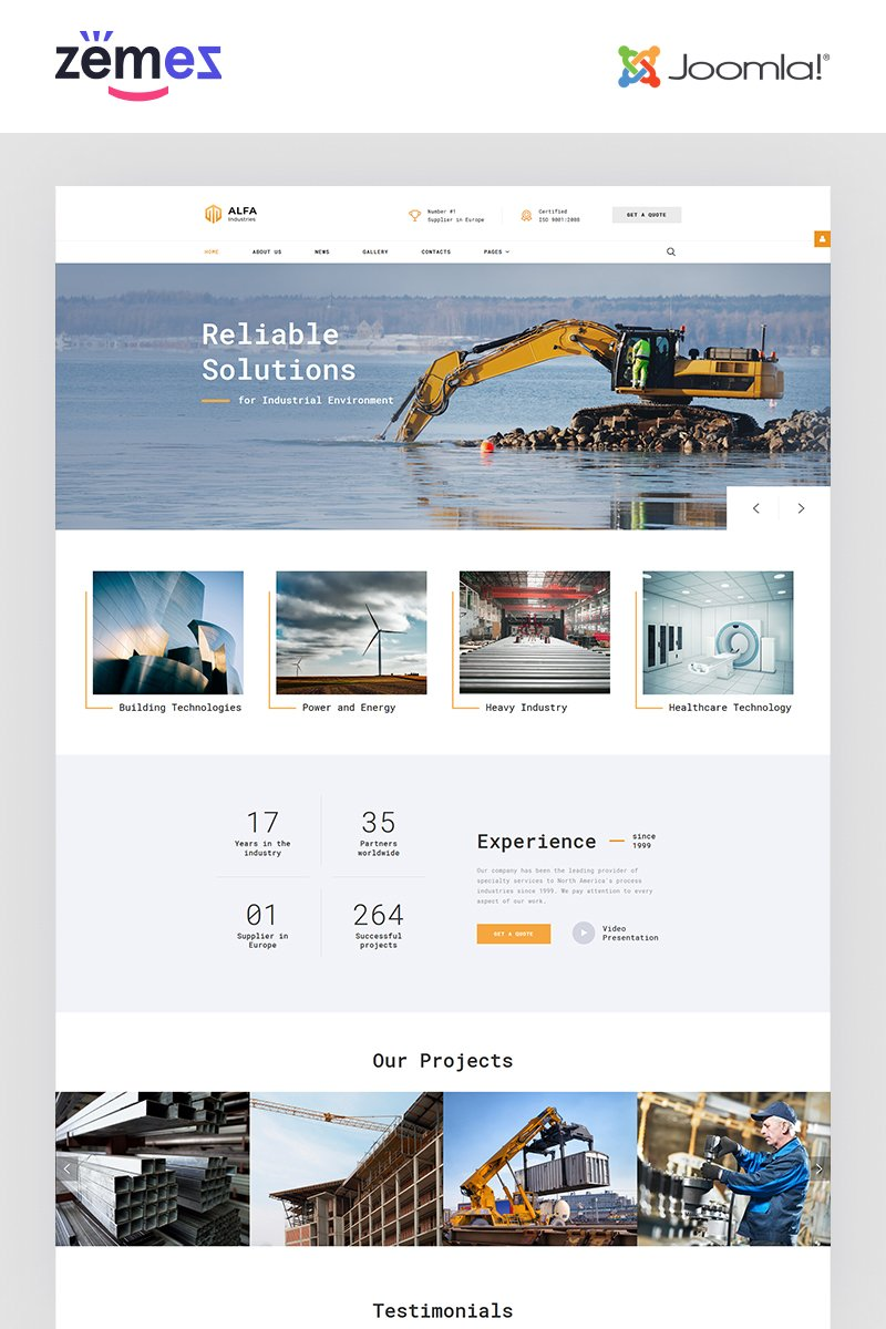 """ALFA Industries - Industrial Clean Professional"" - адаптивний Joomla шаблон №65340"