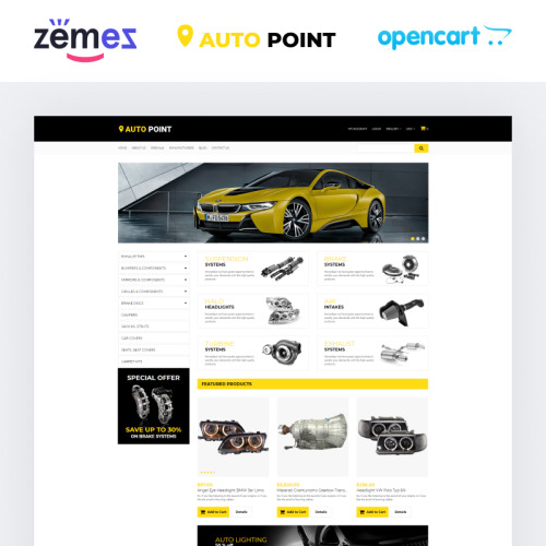 Auto Parts - OpenCart Template based on Bootstrap