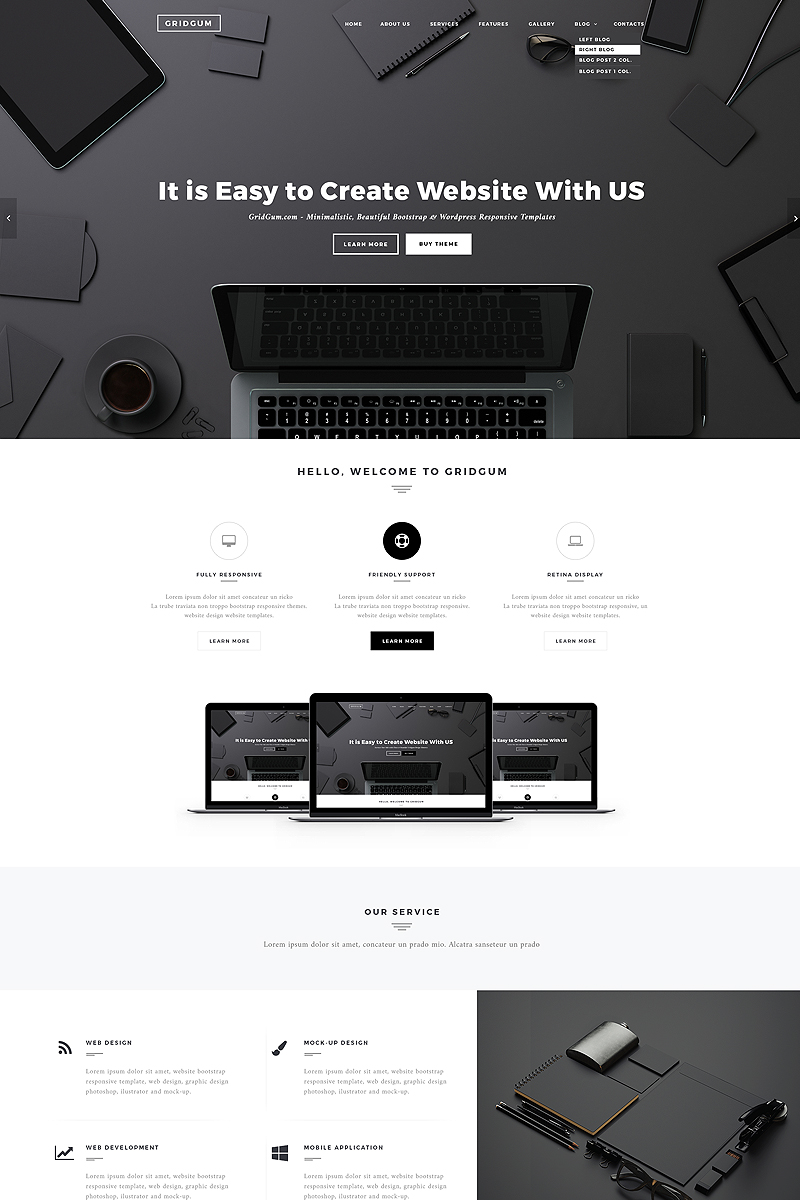 Black White Labels Website Template