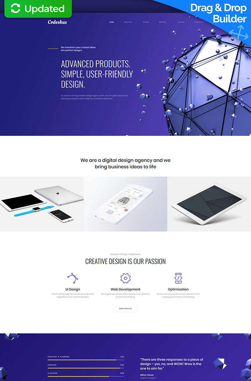 Codeskus - Web Design Agency Premium Moto CMS 3 Template - screenshot
