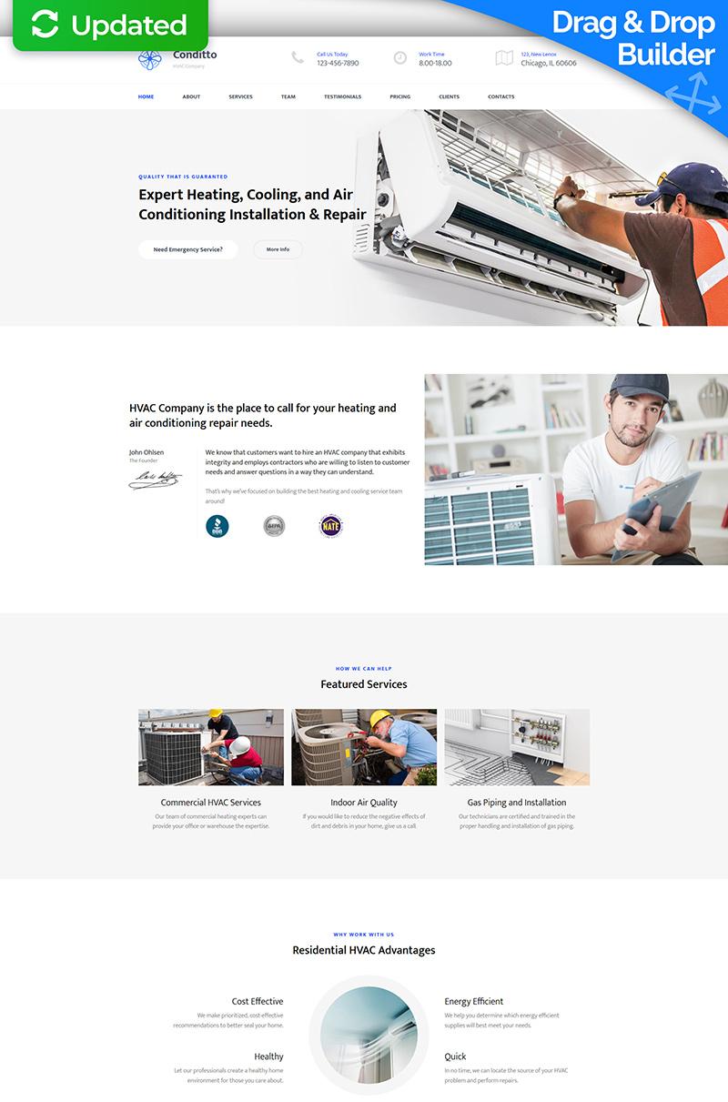 """""""Conditto - HVAC Premium"""" Responsive Moto CMS 3 Template №65311"""