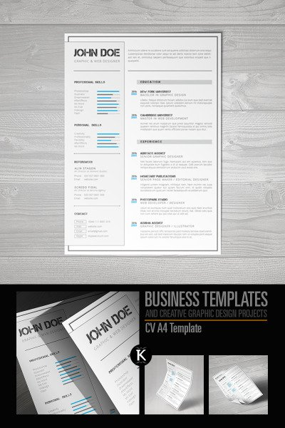 Cv A Format Indesign Resume Template