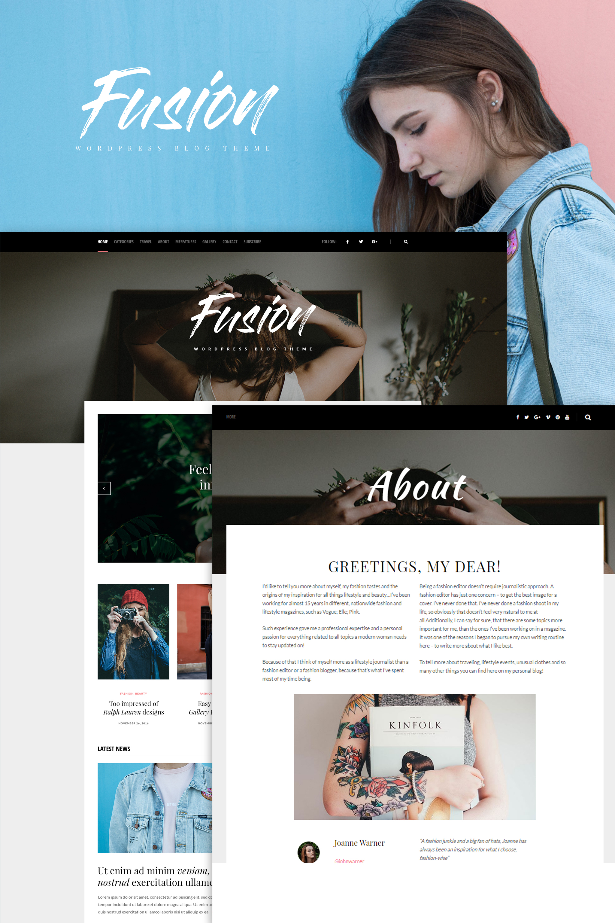 """Fusion - WordPress Blog Theme"" Responsive WordPress thema №65365"