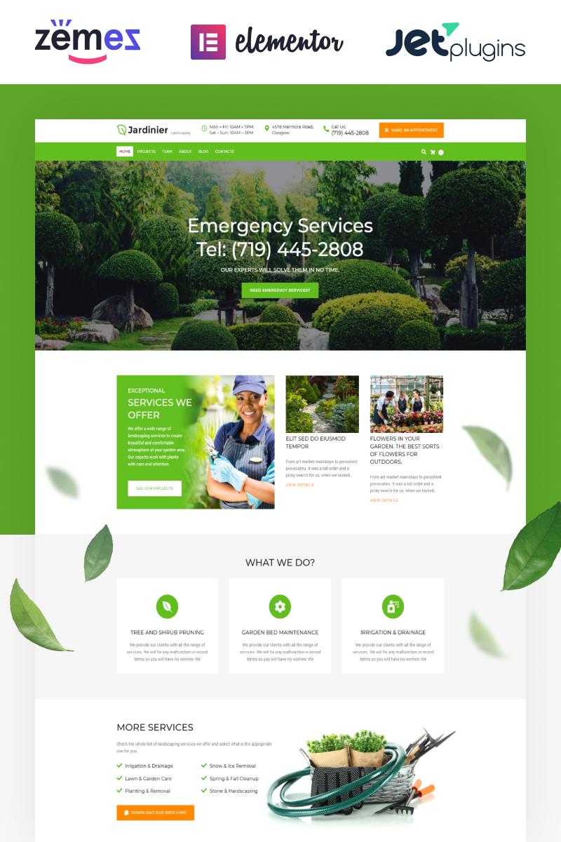 """Jardinier - Landscaping Services WordPress Theme"" - адаптивний WordPress шаблон №65343 - скріншот"