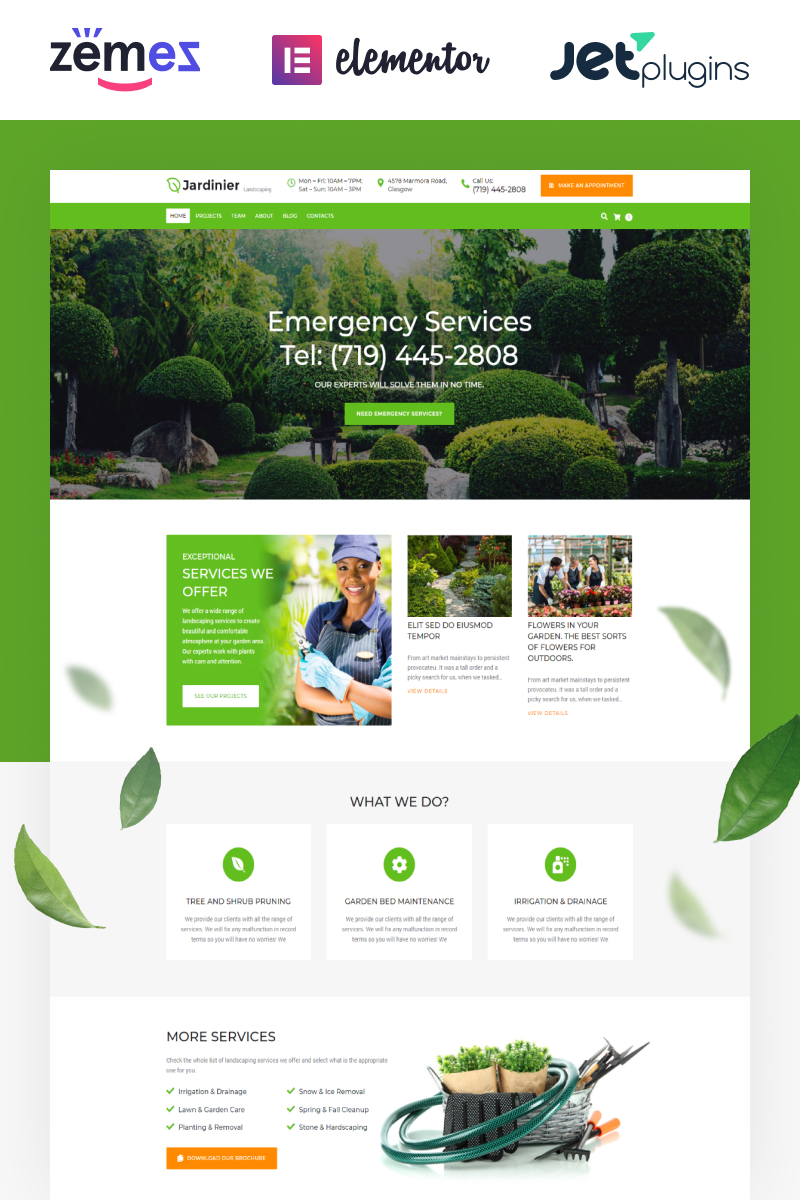 """Jardinier - Landscaping Services WordPress Theme"" 响应式WordPress模板 #65343"