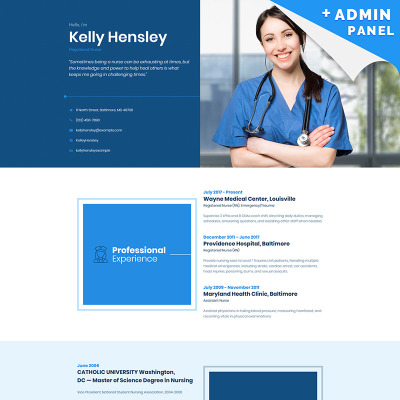 Personal Page Responsive Landing Page Template - Medical landing page template