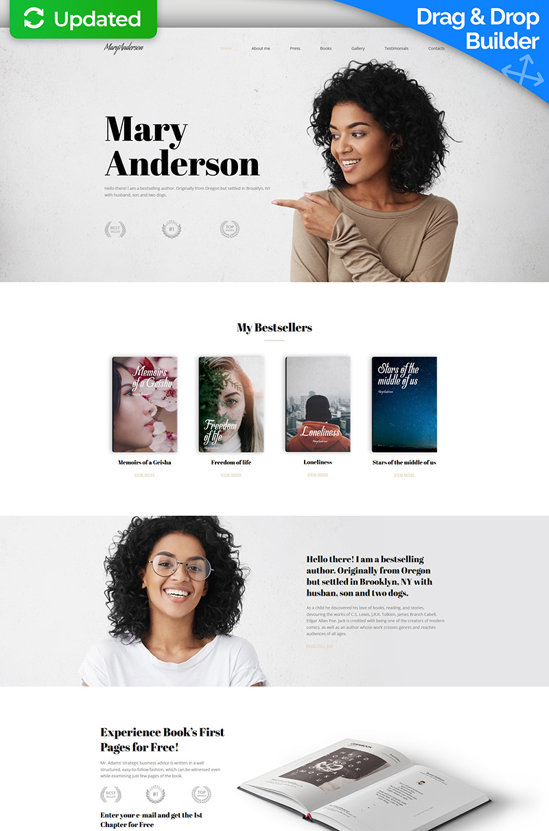 """Mary Anderson - Book Writer Premium"" modèle Moto CMS 3 adaptatif #65305"