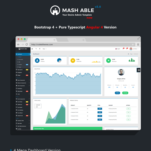 Mash Able Bootstrap 4 - Admin Template based on Bootstrap