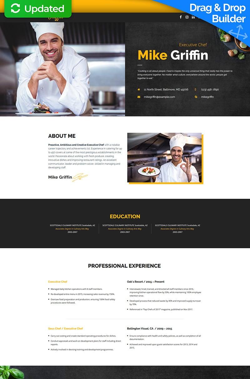 Mike Griffin - Executive Chef CV MotoCMS 3 Templates de Landing Page №65375