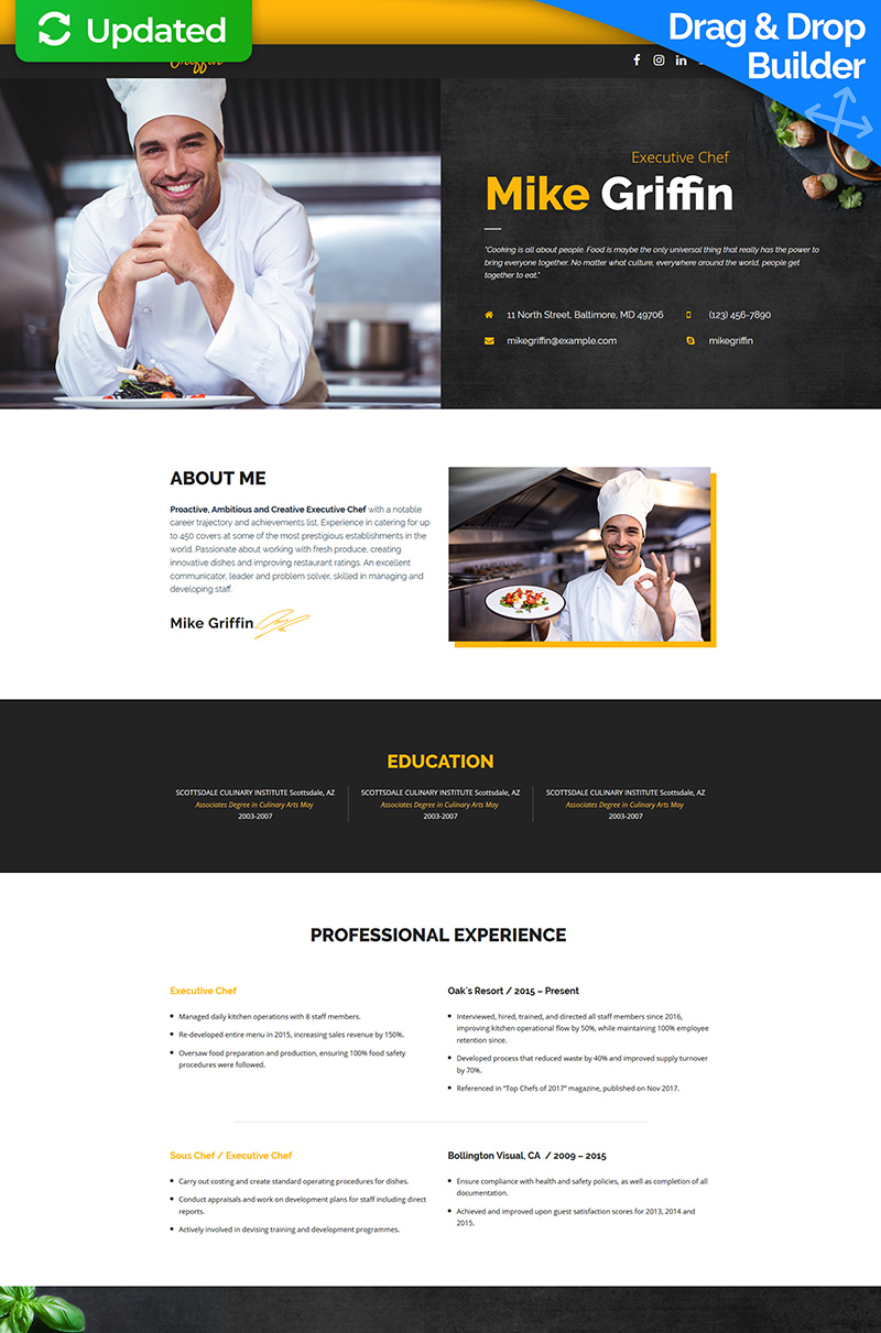 "Modello di Landing Page Responsive #65375 ""Mike Griffin - Executive Chef CV MotoCMS 3"""