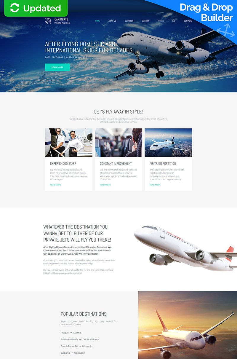 "Moto CMS 3 Template namens ""Carrierte - Private Airline Premium"" #65306"