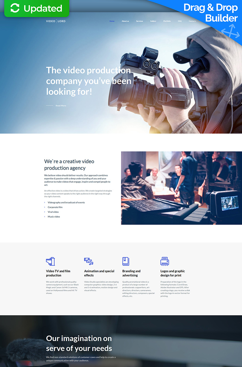 "Moto CMS 3 Template namens ""Video Production Studio Premium"" #65302"