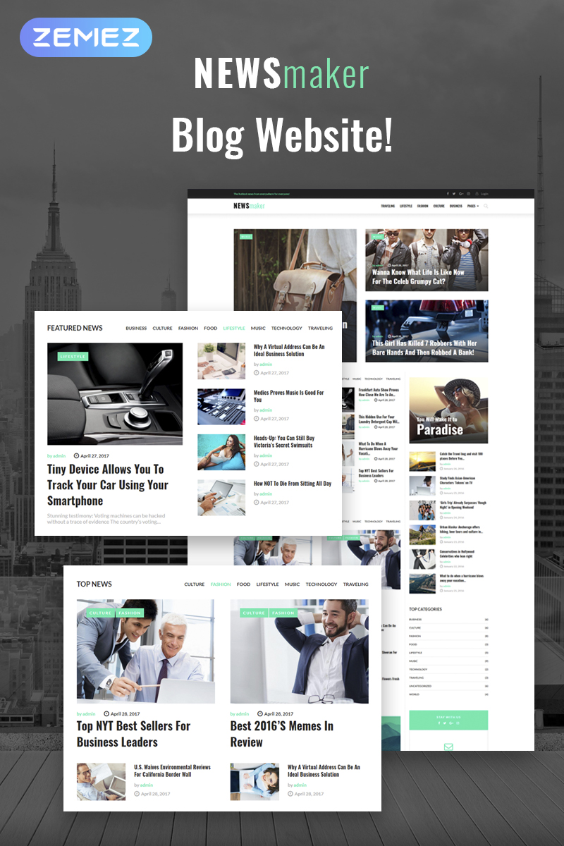 """NEWSmaker - News & Magazine WordPress Theme"" - адаптивний WordPress шаблон №65370 - скріншот"