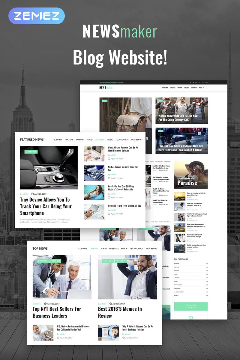 """NEWSmaker - News & Magazine WordPress Theme"" 响应式WordPress模板 #65370"