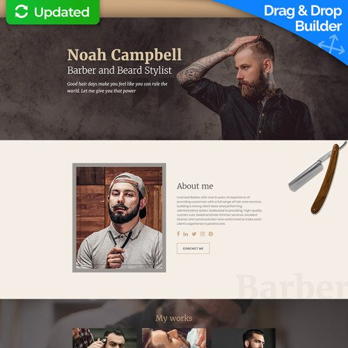 Noah Campbell - Barber CV MotoCMS 3 - Landing Page Template based on Bootstrap
