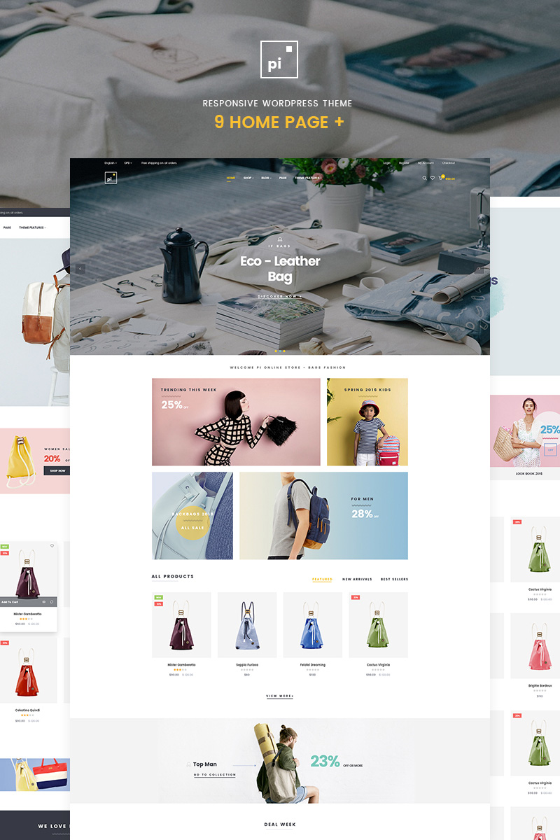 """Pi - Multipurpose"" Responsive WooCommerce Thema №65323 - screenshot"