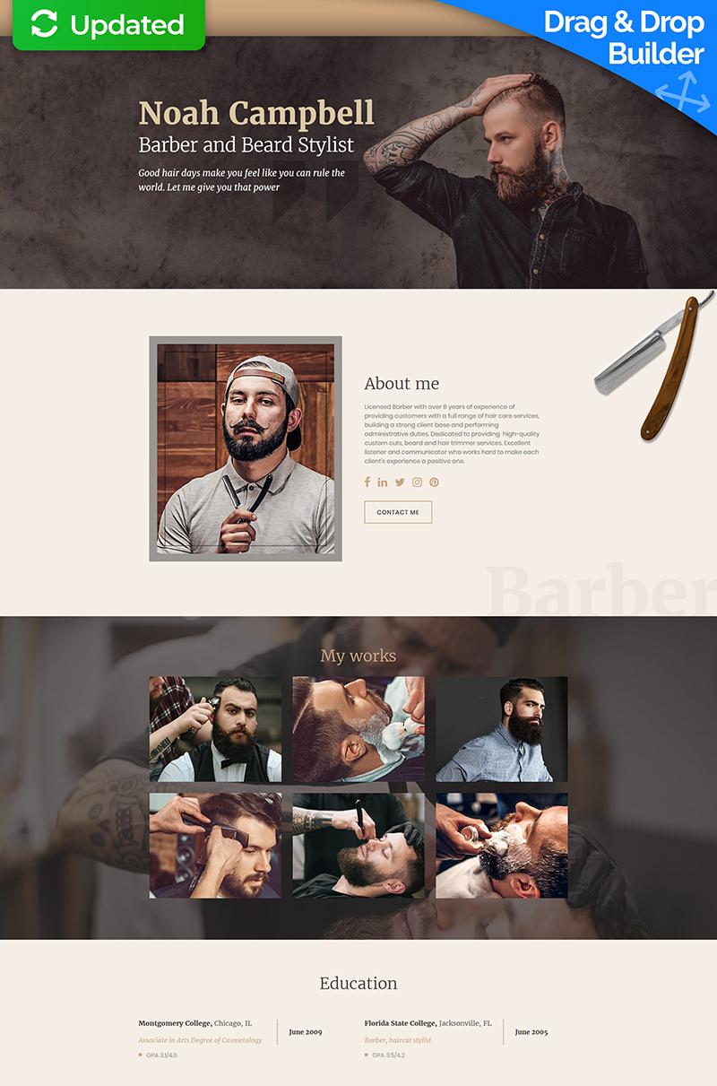 Responsivt Noah Campbell - Barber CV MotoCMS 3 Landing Page-mall #65374