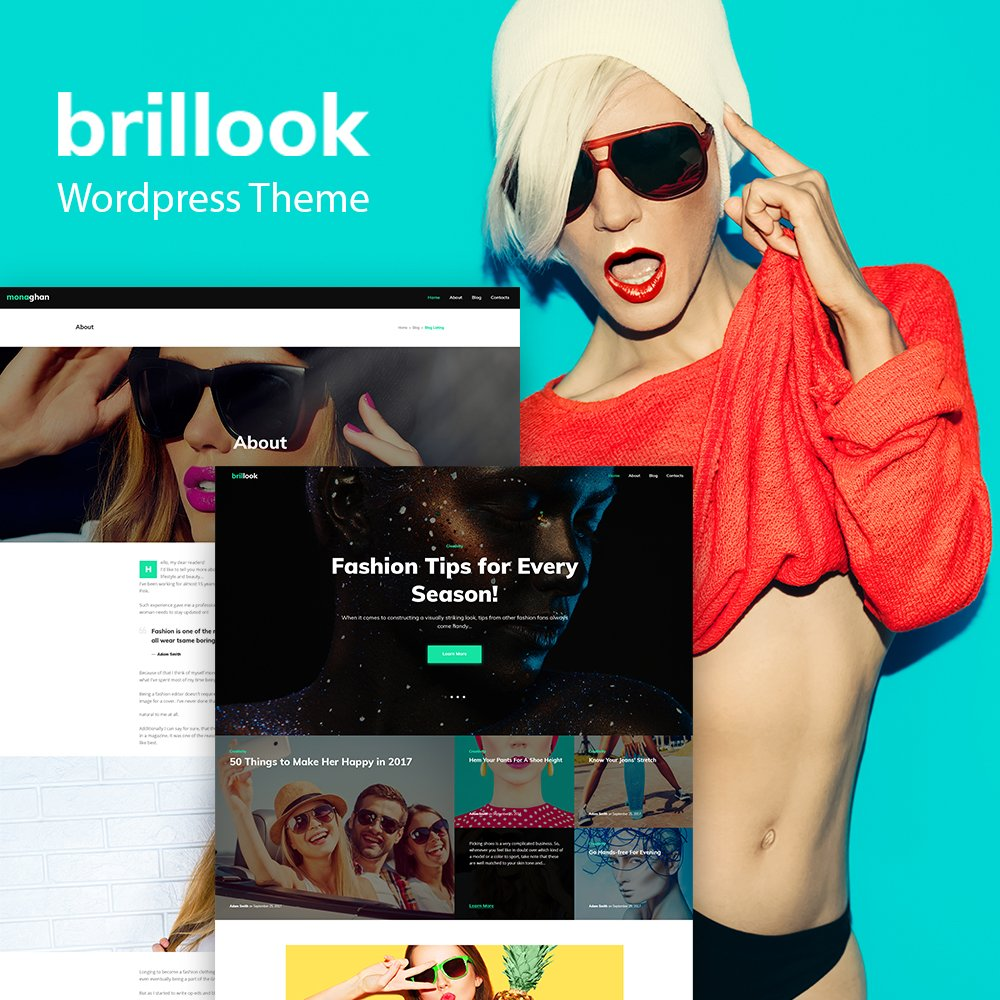 Responsywny motyw WordPress Brillook Lite - Fashion Blog Free WordPress Theme #65338 - zrzut ekranu