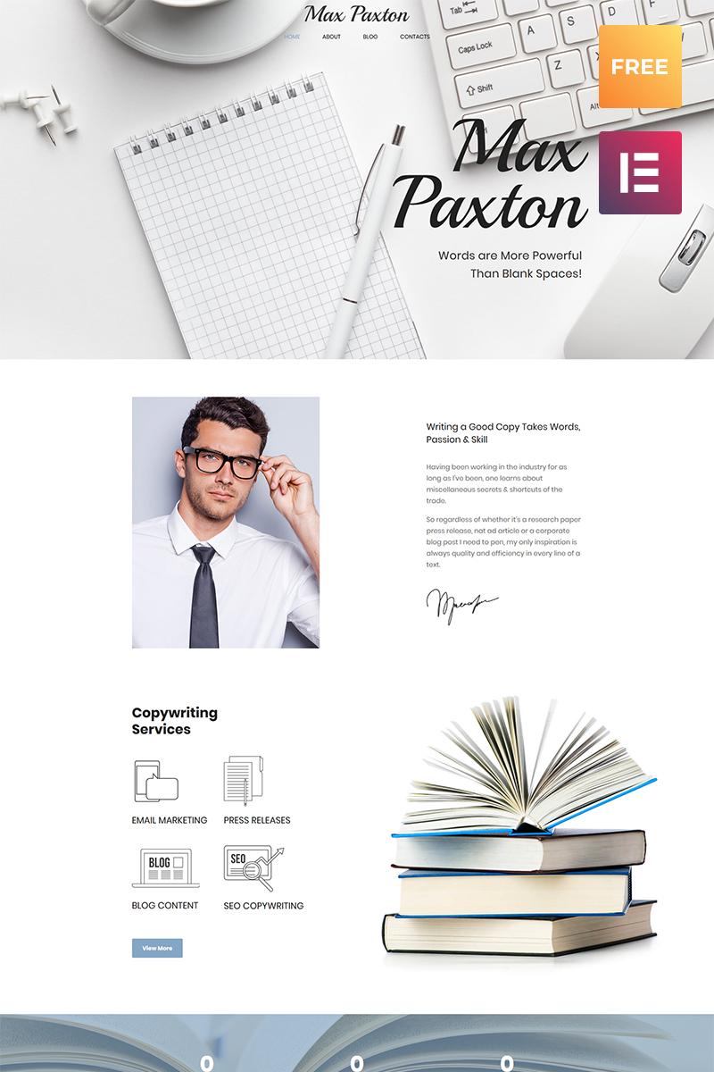 Responsywny motyw WordPress Max Paxton Lite - Copywriter Personal Website Free WordPress Theme #65339 - zrzut ekranu