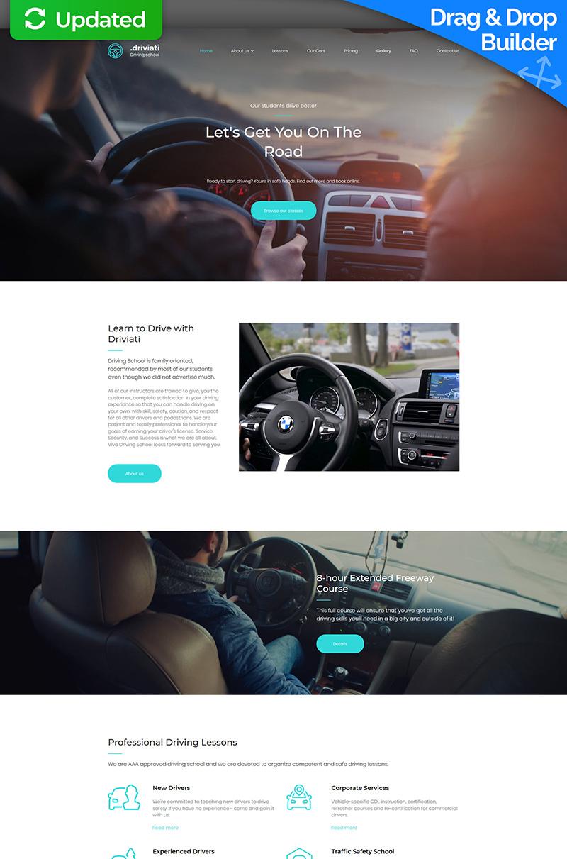 """Responzivní Moto CMS 3 šablona """"Driving School Premium"""" #65300"""