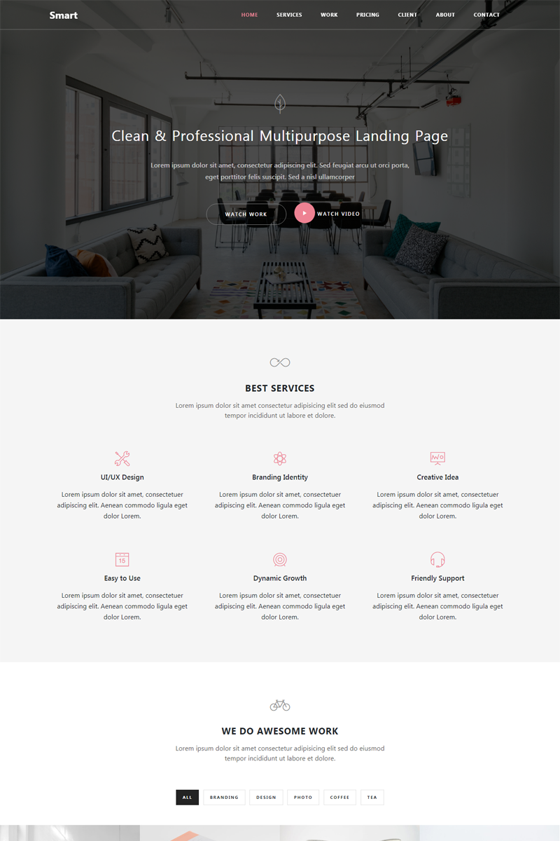 """Smart - Responsive Bootstrap 4 HTML5"" - адаптивний Шаблон сайту №65322"