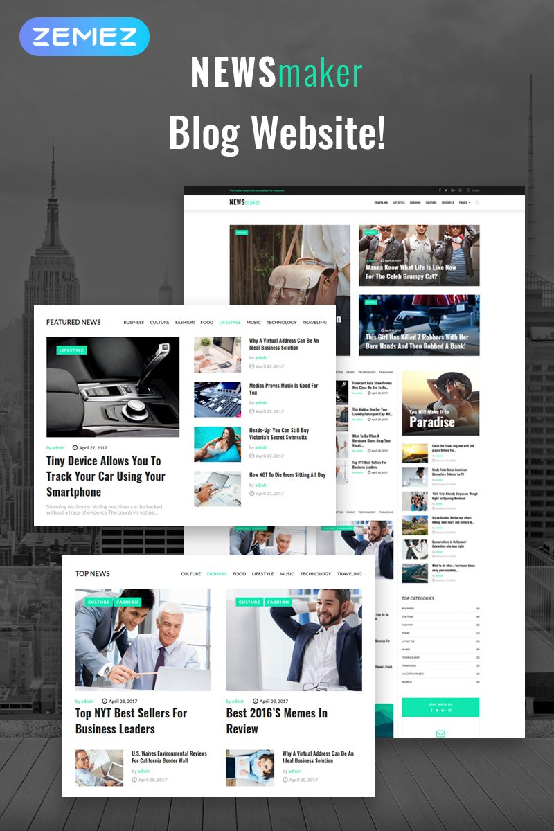 "Tema WordPress Responsive #65370 ""NEWSmaker - News & Magazine WordPress Theme"" - screenshot"