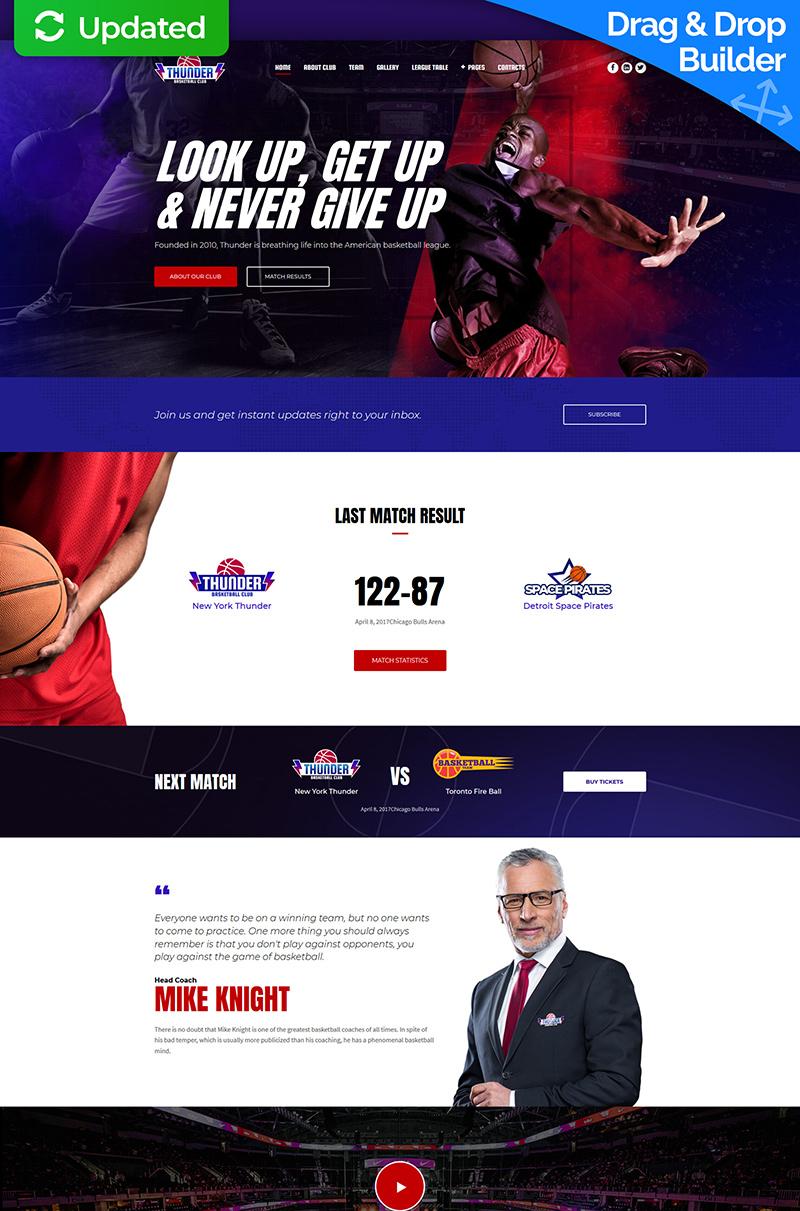 """Thunder - Basketball Club Premium"" Responsive Moto CMS 3 Template №65309"