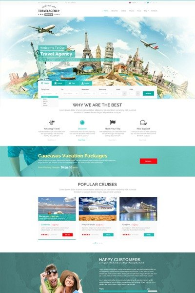 Travel Agency Website Template #65337