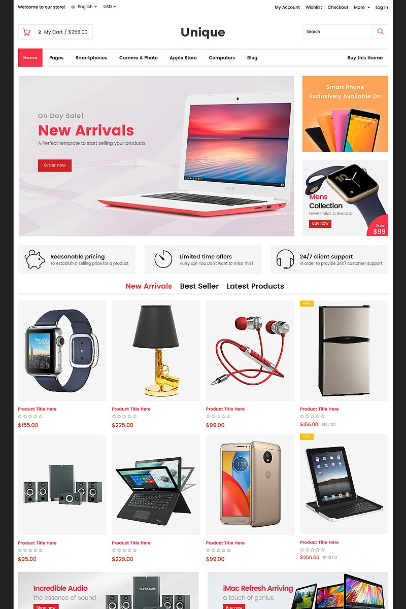 Unique - Electronic & Digital Store Website Template
