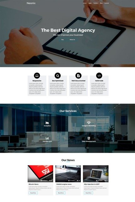 Website Design Template 65440 - marketing business responsive paralax blog portfolio modern masonry wordpress wpml retina jquery css3 html5 clean minimal bootstrap