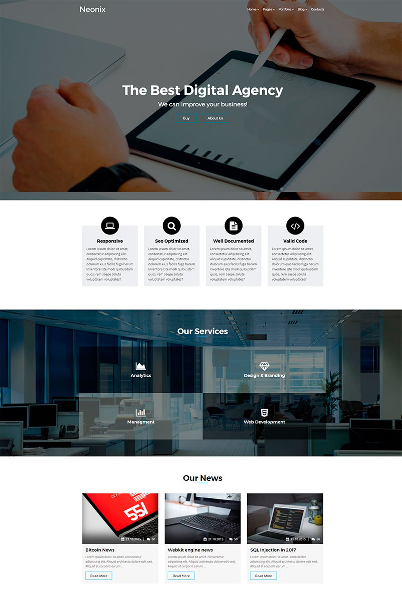 Website Design Template 65440 - creative agency marketing business responsive paralax blog portfolio modern masonry wordpress wpml retina jquery css3 html5 clean minimal bootstrap