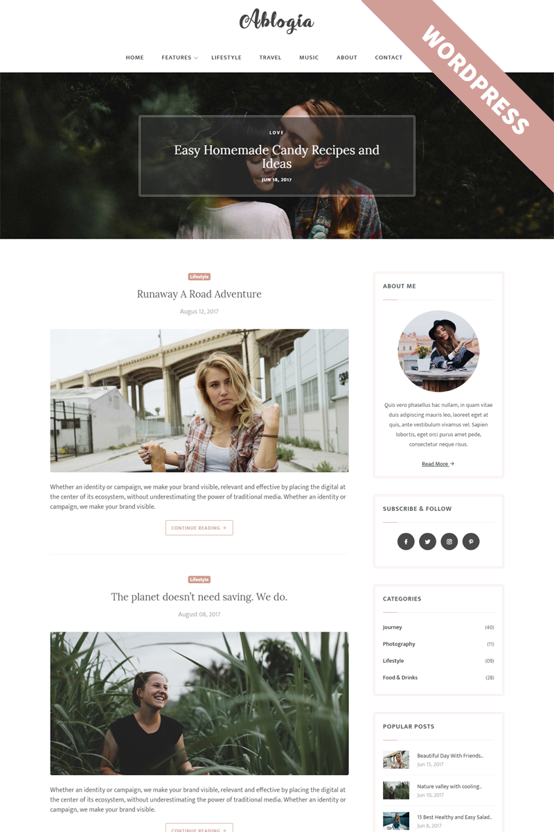 """Ablogia - Personal Blog"" Responsive WordPress thema №65466 - screenshot"