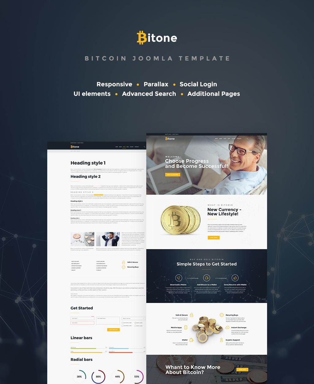 """Bitone - Bitcoin Cryptocurrency"" Responsive Joomla Template №65414"