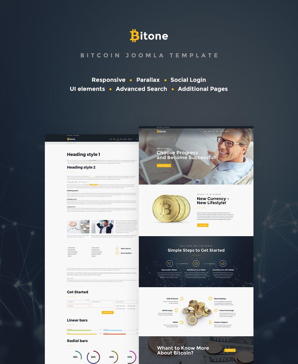 """Bitone - Bitcoin Cryptocurrency"" 响应式Joomla模板 #65414"
