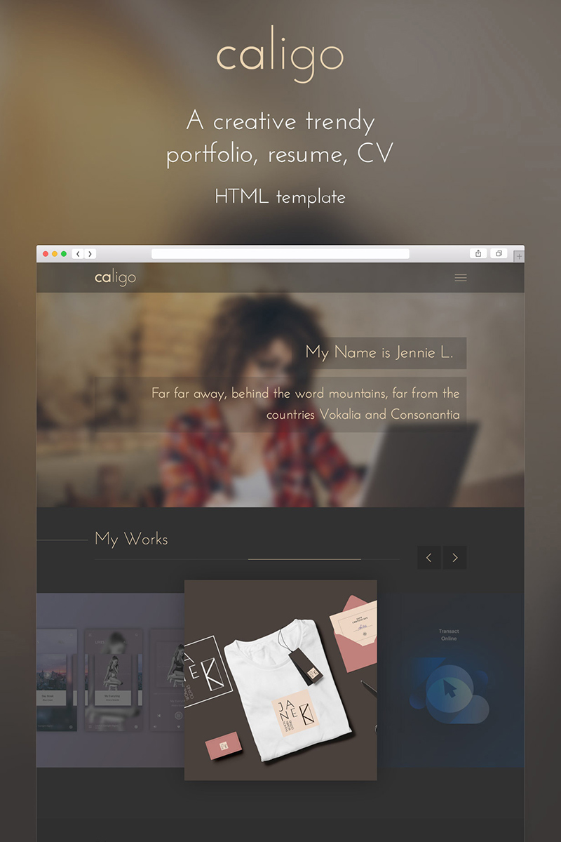 Bootstrap szablon strony www Caligo - Portfolio, Resume, CV #65417