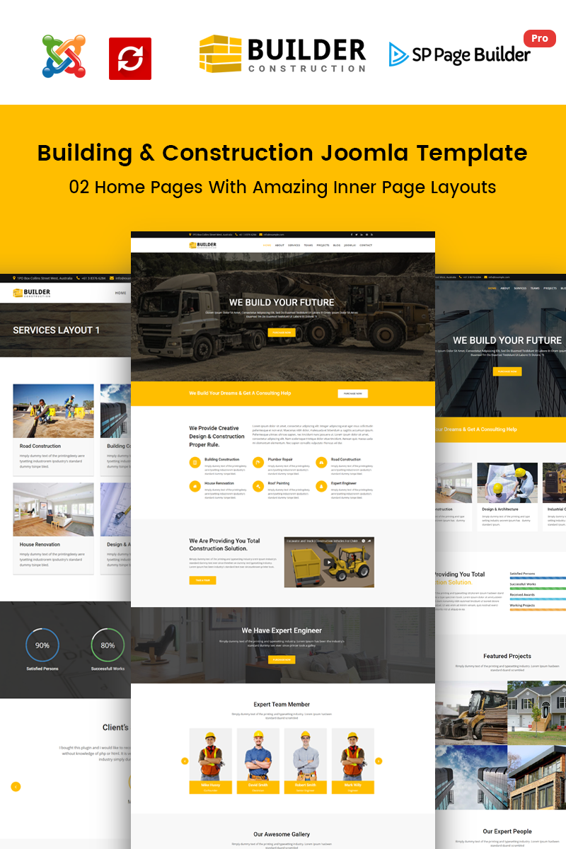 Builder construction company joomla template 65495 for Home builder website