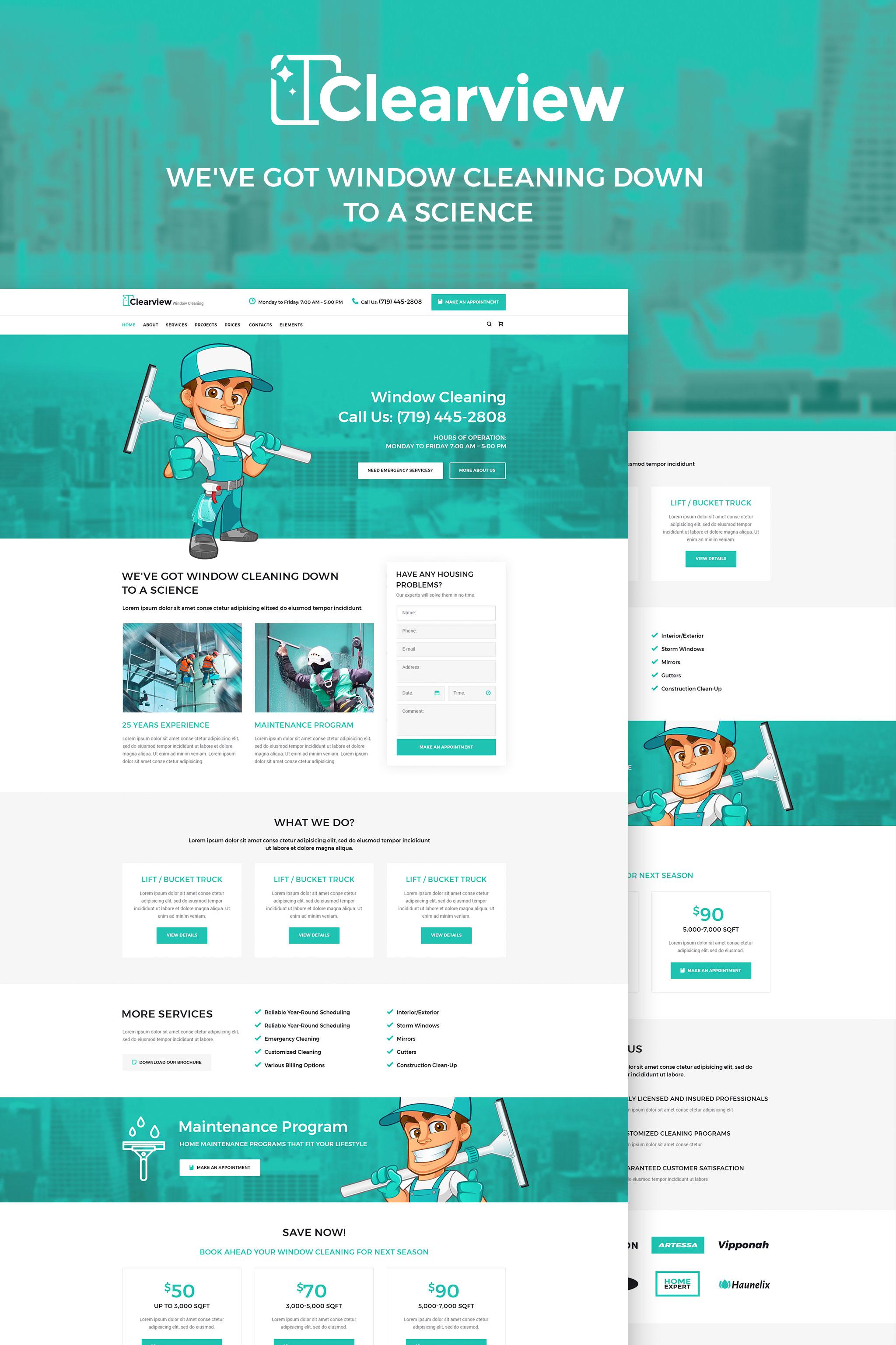 """""""Clearview - Services de nettoyage de vitres"""" thème WordPress adaptatif #65463"""