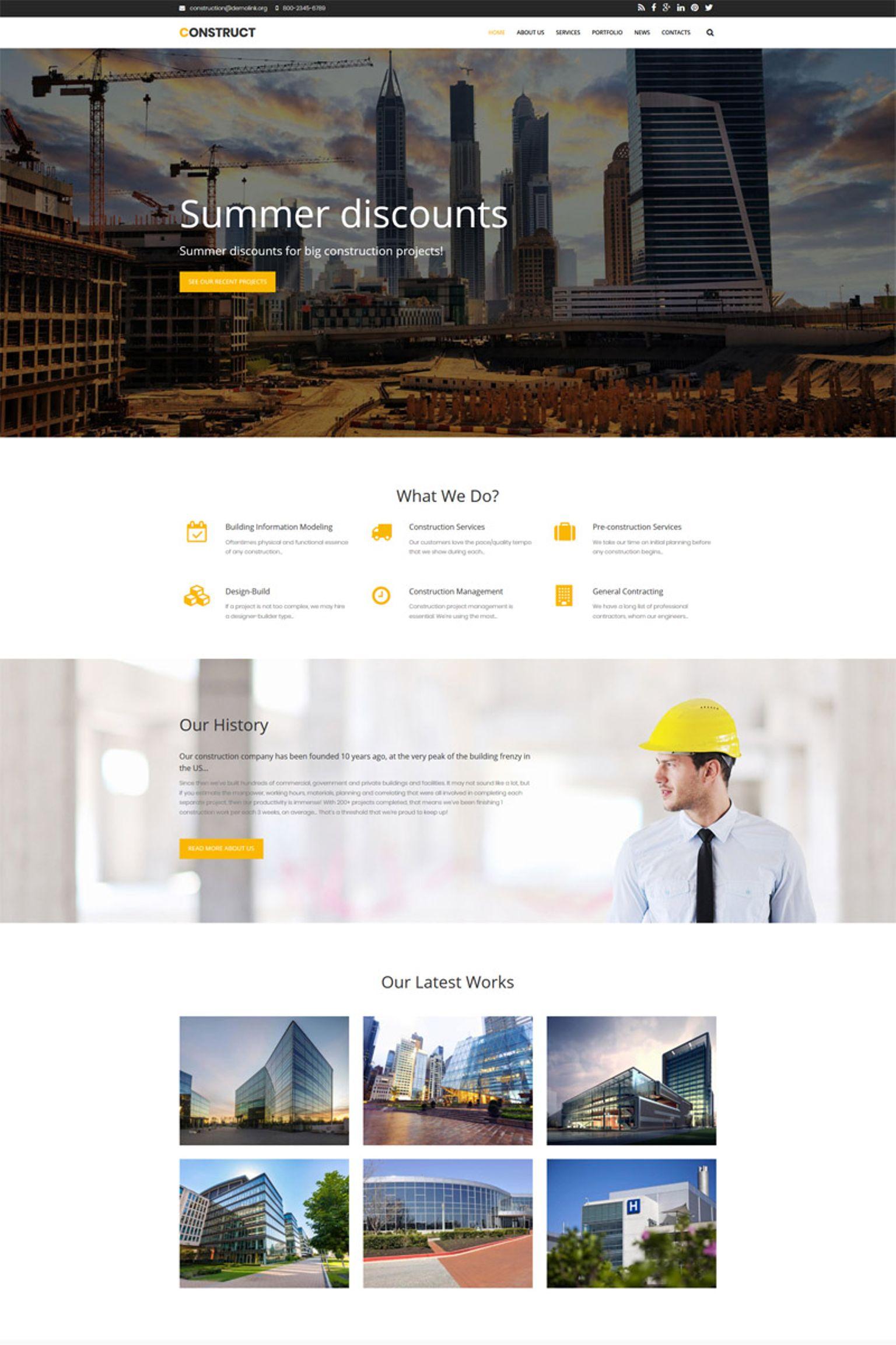 """""""Construct - Construction Premium"""" Drupal模板 #65491"""